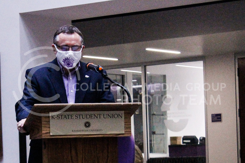 Due to the rain, the rally and sharing portion of the Walk Against Sexual Violence was moved indoors on April 23, 2021. Thomas Lane, dean of students, spoke in support of survivors.  (Kaylie McLaughlin | Collegian Media Group)