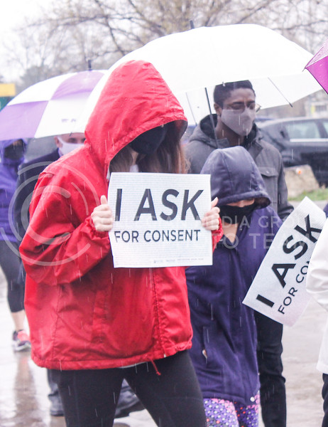 On April 23, 2021, K-State students and community members walked in the rain from City Park to the K-State Student Union for the annual Walk Against Sexual Violence. (Kaylie McLaughlin | Collegian Media Group)