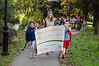 David LaChance — Bennington Banner<br /> Bennington Elementary School students follow the Walloomsac Pathway as they celebrate International Walk to School Day. The local walk was organized by RiseVT to encourage healthy lifestyles, with a small grant from the University of Vermont Medical Center in connection with the Safe Routes to School program. The school's 250 K through grade 5 students received education in school about road safety, stickers and a healthy snack, as well as some good exercise on an ideal fall Vermont day. Leading the way are, from left, second-graders Catherine O'Malley, Giovanni Shepard, teacher Courtney Pierce, and Damien Reed.