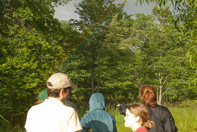 Can you see the rainbow? It is a red and green curved line starting at the top of the picture (about in the middle) and ending on the cap of the person in the bright white shirt. It is not a bright, well defined rainbow. But it does exist in the picture.