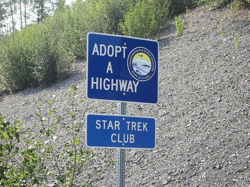 Hehe...I wonder if the Trekkie geeks clean the highway dressed up like Klingons.