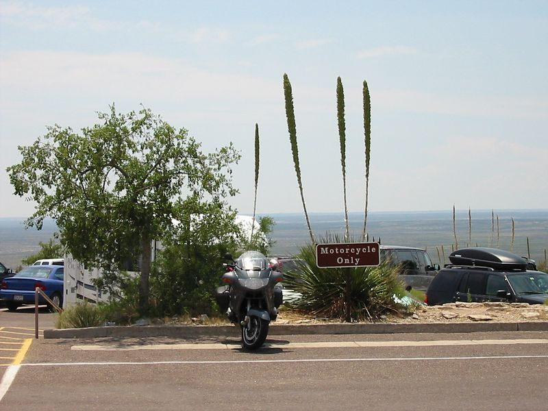 When I arrived at Carlsbad Caverns in New Mexico, I was really pumped that the NPS provided motorcycle parking.   The excitement left me when I bore the spectacle of three fat, half-naked Harley uglies pulling up beside me.  The sunburnt cellulite fest was almost enough for me to lose the Subway Club I'd had for lunch.