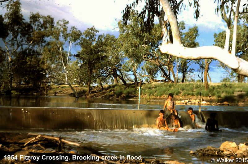 1954 Fitzroy Crossing. Brooking creek in flood.