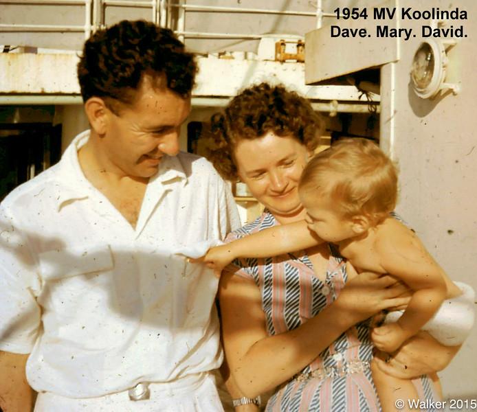 1953 MV Koolinda. Dave. Mary. David.