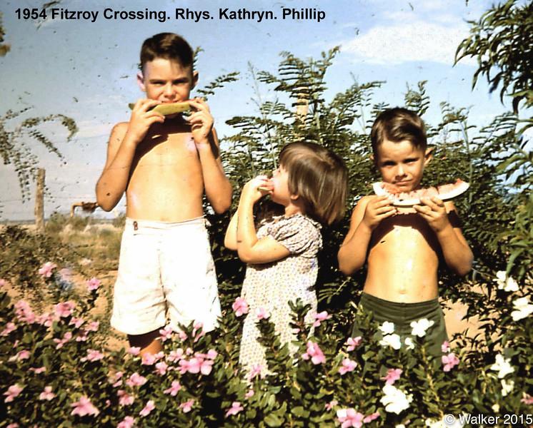 1954 Fitzroy Crossing. Rhys. Kathryn. Phillip