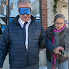 Visions consulting L3C held a teaching the sighted to be blind event in Leominster on Friday afternoon, Dec. 20, 2019 with the Lions Club. Participating in the event was Mayor Dean Mazzarella and State Representative Natalie Higgins. They were lead around the downtown to see how tough it was and to find out what could be changed to help those that are sight challenged. Mazzarella, blindfolded, tries to find the button to help him cross the street with the help of volunteer Rosy Castro RN from Worcester. When it is safe to cross there should be sounds to let the sight challenged know it is time, there are no sounds for this in the downtown. SENTINEL & ENTERPRISE/JOHN LOVE