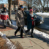 Visions consulting L3C held a teaching the sighted to be blind event in Leominster on Friday afternoon, Dec. 20, 2019 with the Lions Club. Participating in the event was Mayor Dean Mazzarella and State Representative Natalie Higgins. They were lead around the downtown to see how tough it was and to find out what could be changed to help those that are sight challenged. Higgins with the help of Colleen Oncay the district gov. of the MA 33a Lions Club makes her way around the downtown. SENTINEL & ENTERPRISE/JOHN LOVE