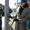 Visions consulting L3C held a teaching the sighted to be blind event in Leominster on Friday afternoon, Dec. 20, 2019 with the Lions Club. Participating in the event was Mayor Dean Mazzarella and State Representative Natalie Higgins. They were lead around the downtown to see how tough it was and to find out what could be changed to help those that are sight challenged. Higgins, blindfolded, tries to find the button to push to help her cross the street. When It is safe to cross there should be sounds to let the sight challenged know it is time, there are no sounds for this in the downtown. SENTINEL & ENTERPRISE/JOHN LOVE