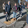 Visions consulting L3C held a teaching the sighted to be blind event in Leominster on Friday afternoon, Dec. 20, 2019 with the Lions Club. Participating in the event was Mayor Dean Mazzarella and State Representative Natalie Higgins. They were lead around the downtown to see how tough it was and to find out what could be changed to help those that are sight challenged. Mazzarella, while blindfolded, makes his way downtown with the help of volunteer Rosy Castro RN from Worcester. Castro gets ready to help  Mazzarella cross the street for the first time during their walk. SENTINEL & ENTERPRISE/JOHN LOVE
