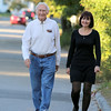 Ed Walsh, 85, of Fitchburg stroll through his neighborhood with his daughter Karen Walsh Fortin on Tuesday afternoon. SUN/JOHN LOVE