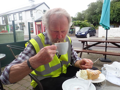 """Brian enjoys a cuppa at """"The Sugar Cafe"""" in Glengarriff."""