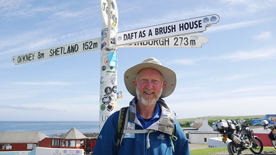 Brian at John O'Groats Signpost with special edition.