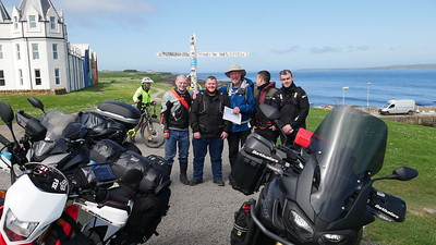 Bikers meet Brian at John O'Groats