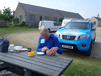 Brian Burnie enjoying his packed lunch in Portsoy