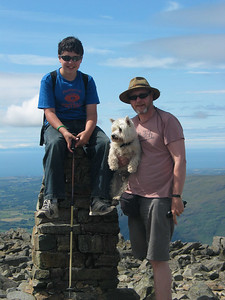 Highest dog in England. Richard, George and Dougie. Dougie is thinking this is one walk too far.
