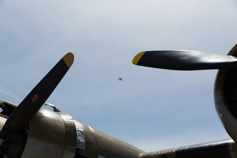 B-25 between the props of B-17