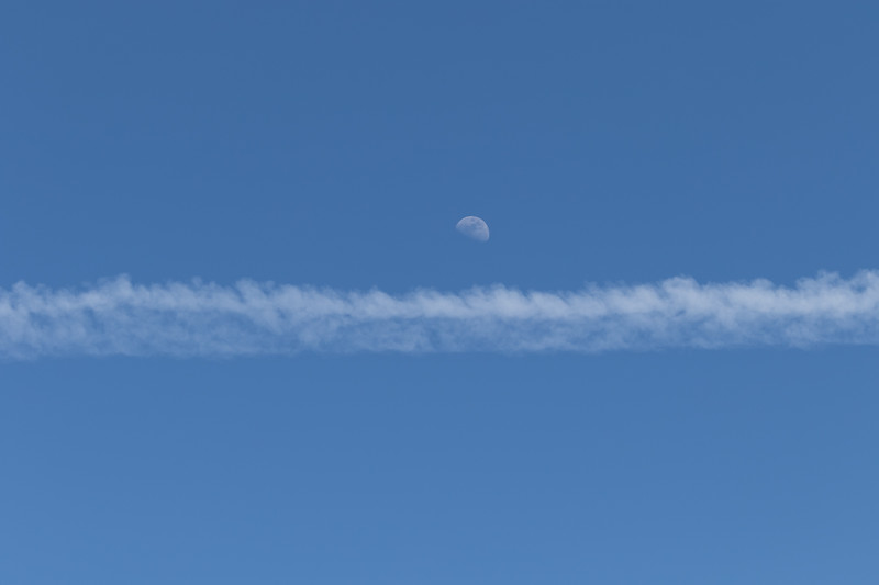 Moon & contrail