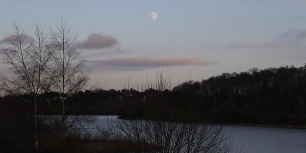 The moon over Waulkmill Glen Reservoir
