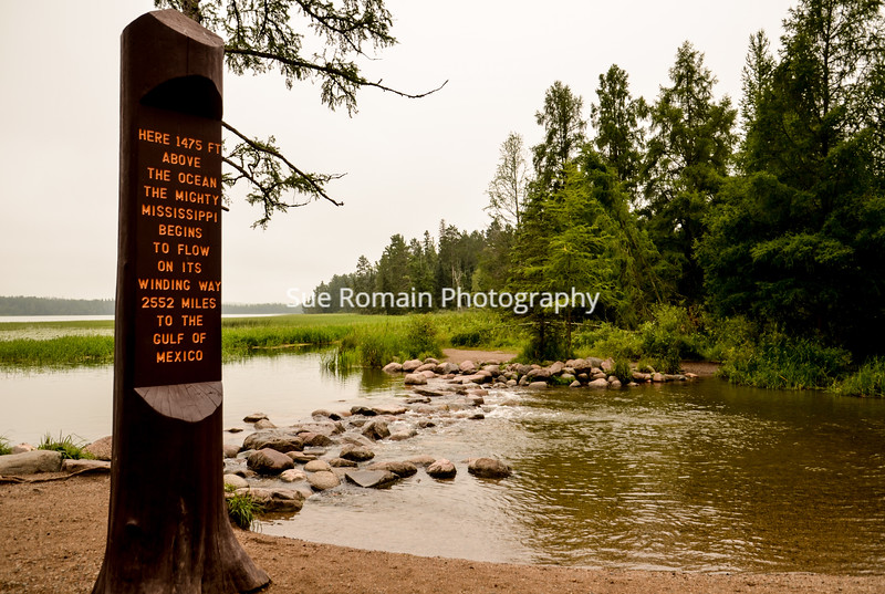 Mississippi River Headwaters with Sign