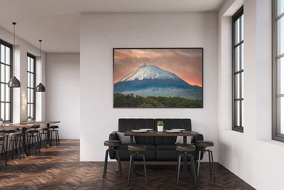 Example of my Wall Art: Sunrise on Mount Pico in a Coffee Shop