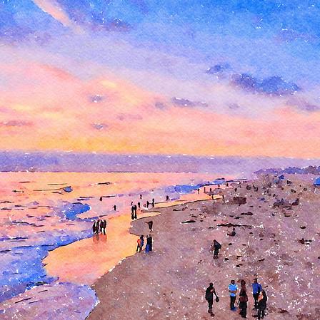 Sunset and Friends at Huntington Beach, California