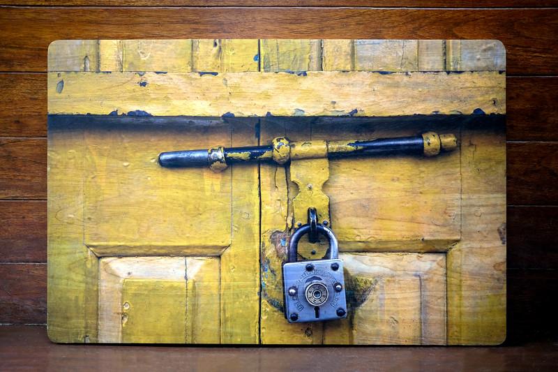 Yellow door with lock