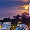 Supermoon rises over Telegraph Hill, San Francisco