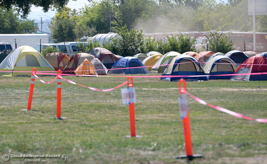 . Tents are set up at the Silver Dollar Fair Incident Command area for the Wall Fire near Oroville, Calif. Mon. July 10, 2017. (Bill Husa -- Enterprise-Record)