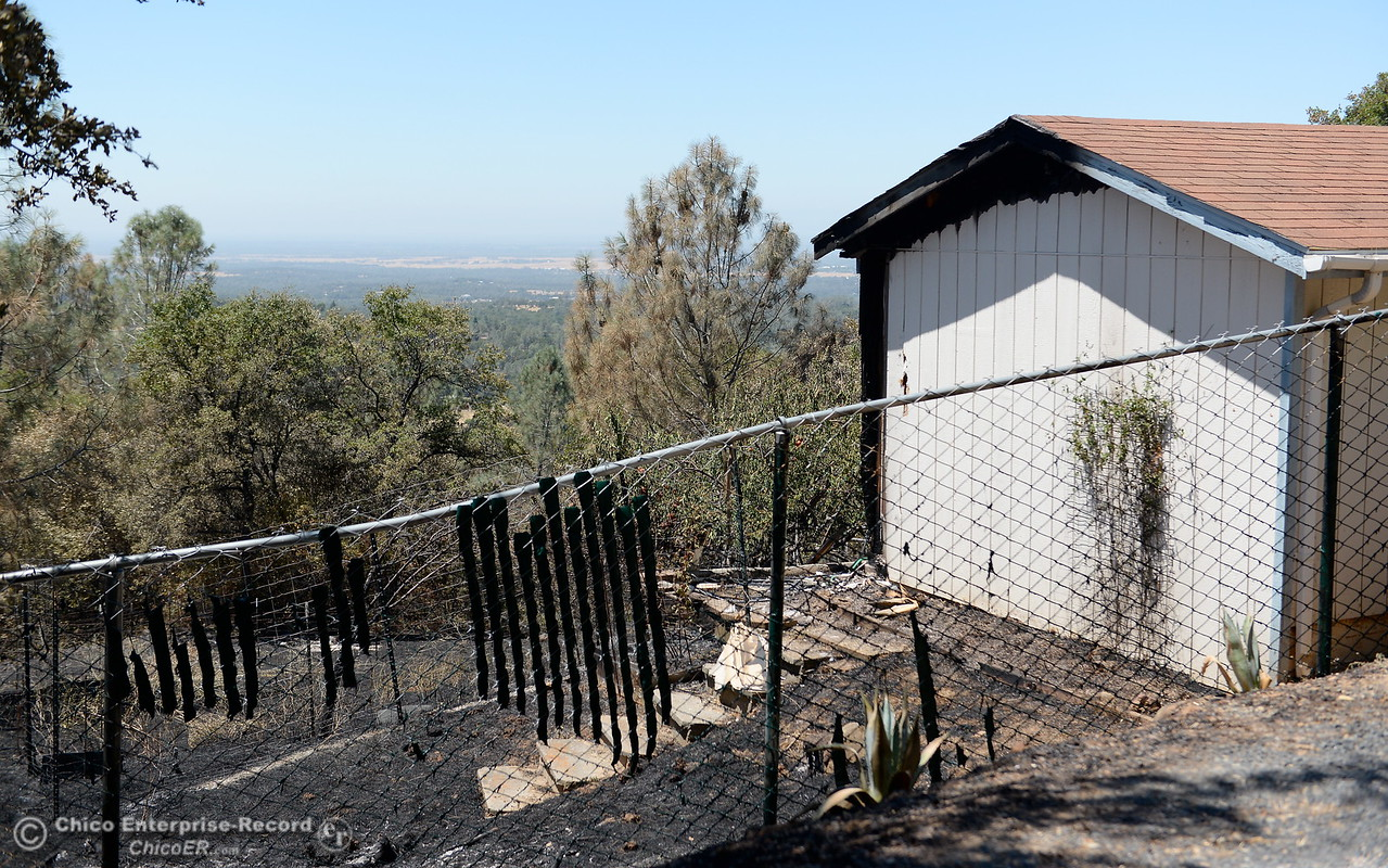 A building sustained a bit of fire damage near Peak View Drive during the Wall Fire near Oroville, Calif. Mon. July 10, 2017. (Bill Husa -- Enterprise-Record)
