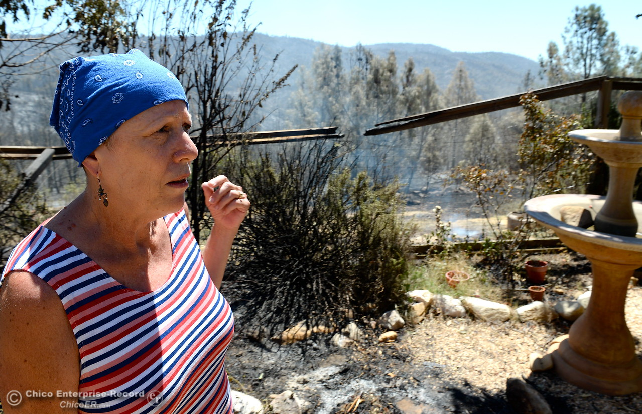 Cathy Prestella stands beside a partially burned fence on her property as she talks about how close the fire was to  the Wall Fire burning their home near Oroville, Calif. Mon. July 10, 2017. (Bill Husa -- Enterprise-Record)