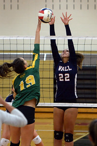 #22, Anna Williams of the Wall Township High School Girl's Varsity Volleyball Team successfully stops a Red Bank Catholic High School player's attempted spike in their match played at Wall TYownship High School, Wall, NJ on 09/09/2019. (STEVE WEXLER/THE COAST STAR).