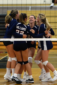 The Wall High School Girl's Volleyball Team reacts to a point won during their match against Red Bank Catholic High School, at Wall High School, Wall, NJ on 09/09/2019. (STEVE WEXLER/THE COAST STAR).