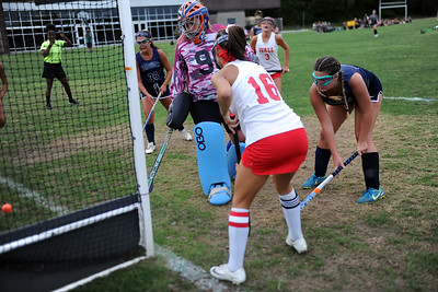 #16, Lynne Walenjus of the Wall Township High School Girl's Varsity Field Hockey Team at the Manasquan Goal for a Crimson Knights Goal in the game against Manasquan Hiogh School on 09/05/2019. (STEVE WEXLER/THE COAST STAR).