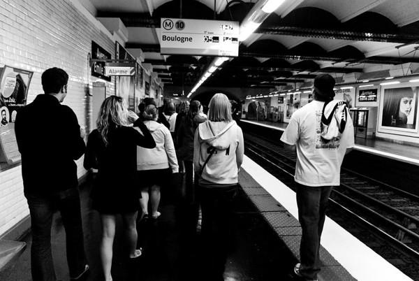 Walking through the Metro tunnel.