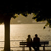 A couple enjoying the captivating sunset in Bellagio.