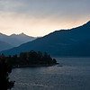 Early morning sunrise view of the mountains from Menaggio along Lake Como.