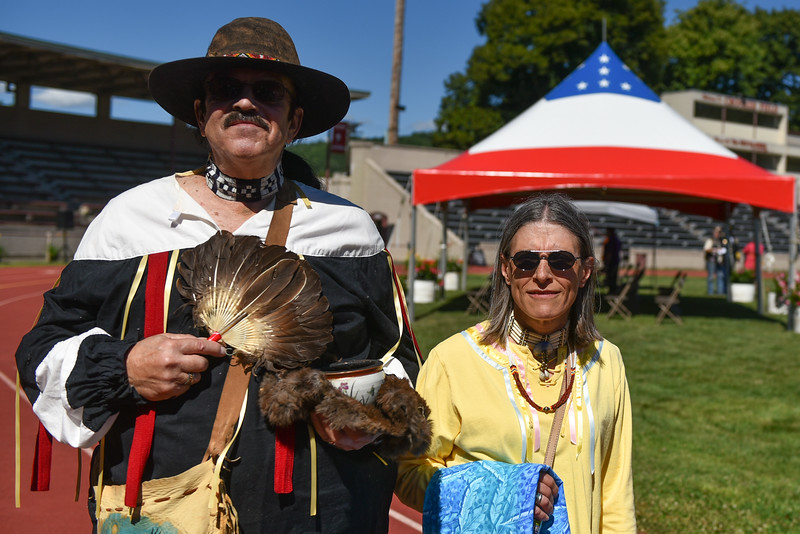 "Katsuk (left) and Hummingbird are Native American Healers who performed a healing ritual during a ceremony on Thursday at Crocker Field in Fitchburg commemorating ""The Wall That Heals.""  SENTINEL & ENTERPRISE JEFF PORTER"