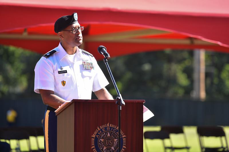 "Keynote speaker LTC Efrem Z. Slaughter Commander Fort Devens speaks to a crowd of Fitchburg Locals during a ceremony on Thursday at Crocker Field in Fitchburg commemorating ""The Wall That Heals.""  SENTINEL & ENTERPRISE JEFF PORTER"