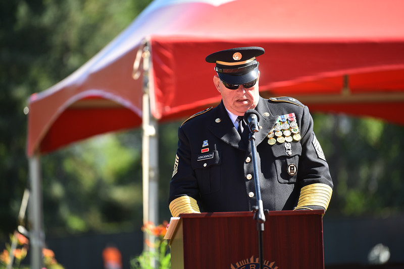 """1st SGT (Ret.) George Kincannon speaks to a crowd of Fitchburg Locals during a ceremony on Thursday at Crocker Field in Fitchburg commemorating """"The Wall That Heals.""""  SENTINEL & ENTERPRISE JEFF PORTER"""