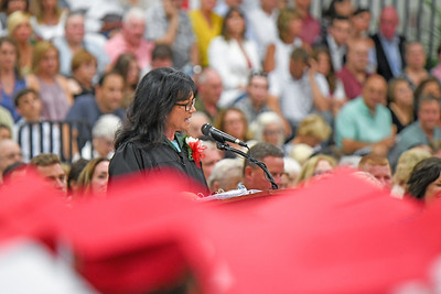 Principal Rosaleen Sirchio addresses the graduates when Wall High School held their Commencement Exercises for the Class of 2019 in their gymnasium on Thursday June 20, 2019. [ALYSSA RASP | THE COAST STAR]