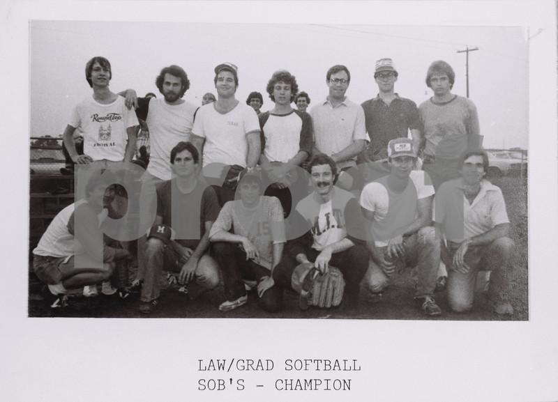 Law/Grad Softball Champs, SOB's, 1977-78