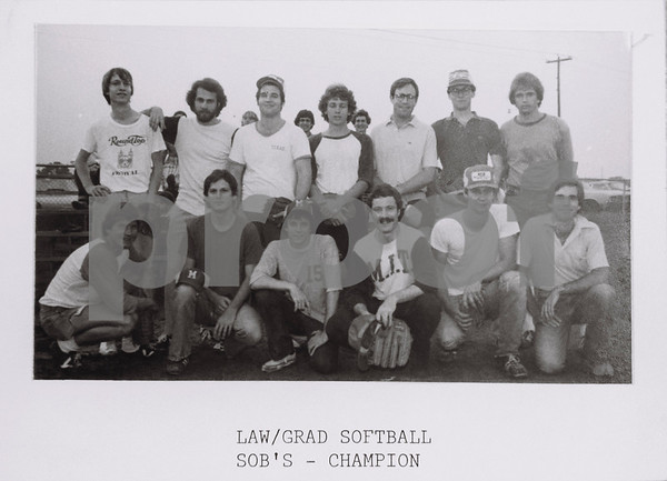 Law/Grad Softball Champs, SOB's, 1977-78