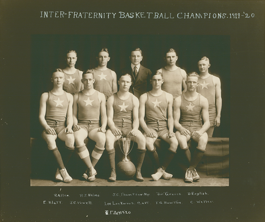 "BASKETBALL  Inter-Fraternity Champions  Phi Gamma Delta  R1: R. Allen, R. J. Nelms, J. C. Thompson, ""Doe"" Graves, D. English R2: E. Klatt, J.C. Vowell., Lee Lockwood (Captain), T. G. Hamilton, C. Weller"