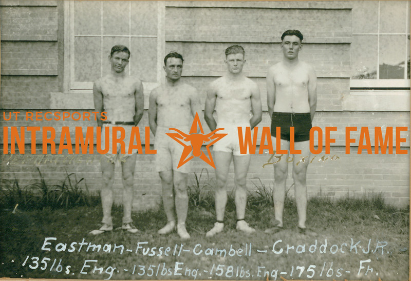 BOXING Departmental Champions  Eastman (135lbs, Engineers), Fussell (135lbs, Engineers), Cambell (158lbs, Engineer), Craddock J. R. (175lbs, Freshmen)
