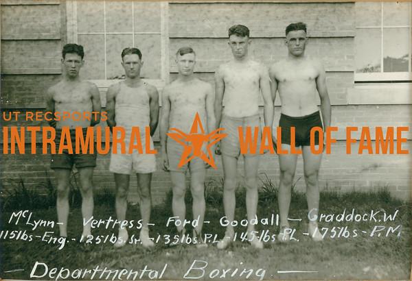 BOXING Departmental Champions  McLynn (115lbs, Engineers), Vertress (125lbs, Seniors), Ford (135lbs, P. L.), Goodall (145lbs, P. L.), Graddock W. (175lbs, P.M.)