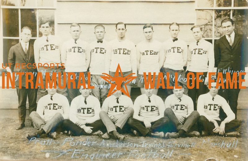 FOOTBALL  Engineers  R1: Ferguson, Maddox, McClendon, Cambell, Ainsworth, Keen, McCleary, Greenwood, Ettlinger R2: Pratt, Ponder, Anderson, Irvine S., Irvine R., Marshall