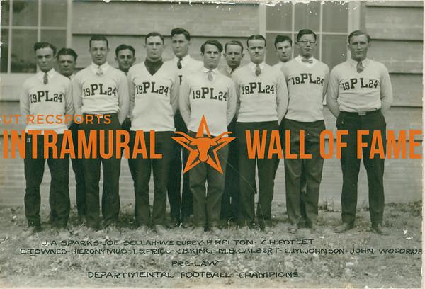 FOOTBALL Departmental Champions  Pre-Law  R1: J. A. Sparks, Joe Sellah, W. E. Dudey,  H. Kelton, C. H. Poteet R2: E. Townes, Hieronymus, T. S. Price, R. B. King, M. B. Calbert, C. M. Johnson, John Woodruff