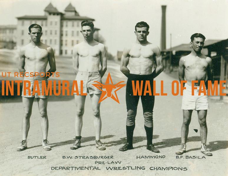 WRESTLING Departmental Champions  Pre-Law  Butler, B. W. Strasburger, Hammond, B. F. Basila