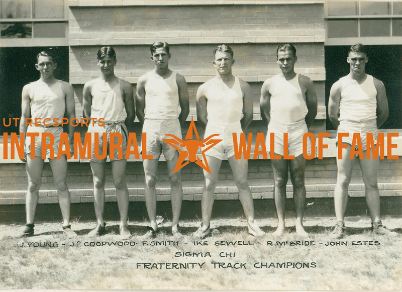 TRACK Fraternity Champions  Sigma Chi  J. Young, J. F. Coopwood, F. Smith, Ike Sewell, R. McBride, John Estes