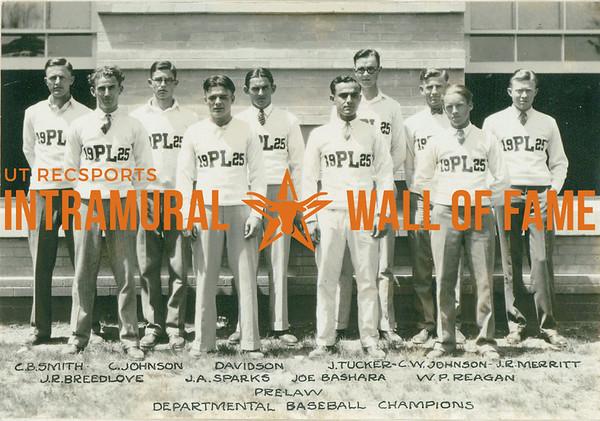 BASEBALL Departmental Champions  Pre-Law  R1: C. B. Smith, C. Johnson, Davidson, J. Tucker, C. W. Johnson, J. R. Merritt R2: J. R. Breedlove, J. A. Sparks, Joe Bashara, W. P Reagan